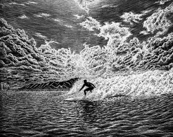 Surfer Inverted Freehand Ink Drawing, Signed, Numbered, Limited Edition Giclee Print on Fine Art paper