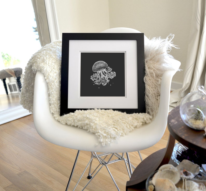 Jellyfish Inverted Freehand Ink Drawing Limited Edition Print image 0