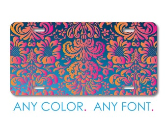 Aluminum or Plastic Custom License Plate Front Car Tag Pink Blue Orange Paisley Personalized with Custom Text