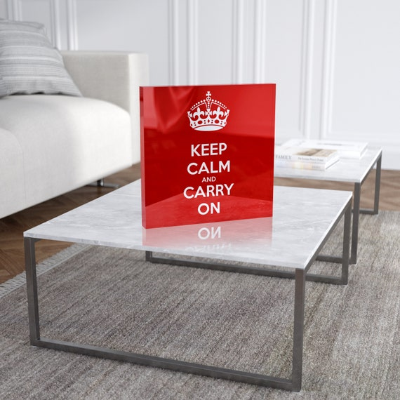 Keep Calm And Carry On Black Metal License Plate Frame Tag Holder