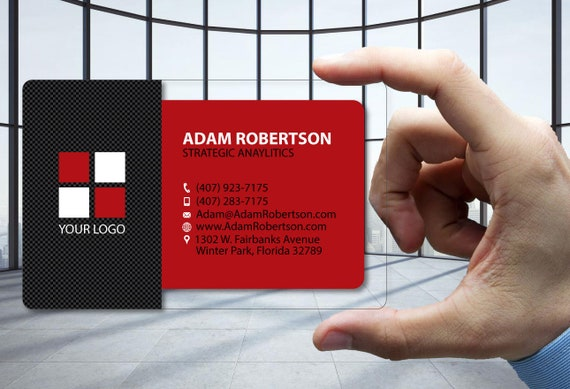 Clear Plastic Business Cards Carbon Fiber Red Any Business Etsy