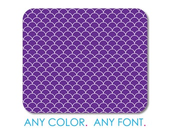 """Custom Mouse Pad - Personalized Monogram  - 1/4"""" Thick - Full Color Mousepad - Any Design - Purple White Scalloped Pattern"""