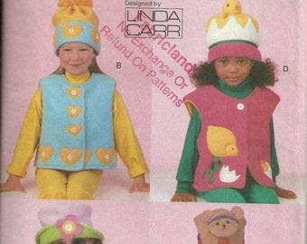 Childrens Appliqued Vests a,nd Hats Size 2 to 6X, Uncut Pattern, Vogue Craft Linda Carr 9716