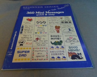 98d7c4d83 360 Mini Messages in Cross Stitch, Beginners Series by Dale Burdett, Quick  and Easy, Jeanette Crew Designs, 1991
