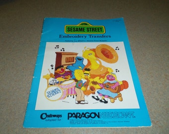 Embroidery Iron On Transfer Patterns, Sesame Street Muppets by Paragon 1983 All patterns present, Nursery, Childs Room, Craft Projects