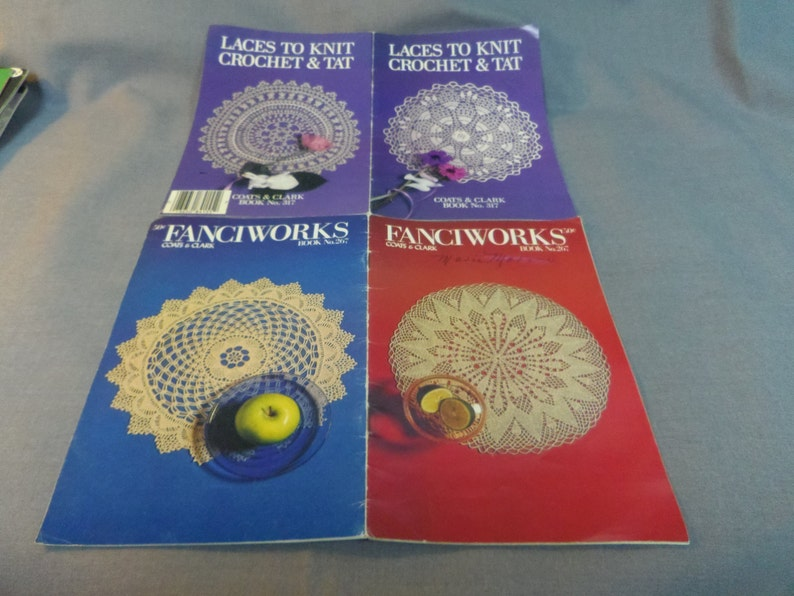 Coats /& Clark Book No Thread Crochet Patterns 317 and 267 1978 and 1985 Crochet and Tat Fanciworks and Laces to knit