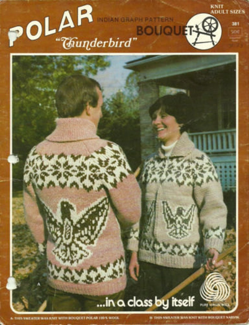 250f506718b Knitting Pattern Cowichan Siwash Thunderbird Design Adult