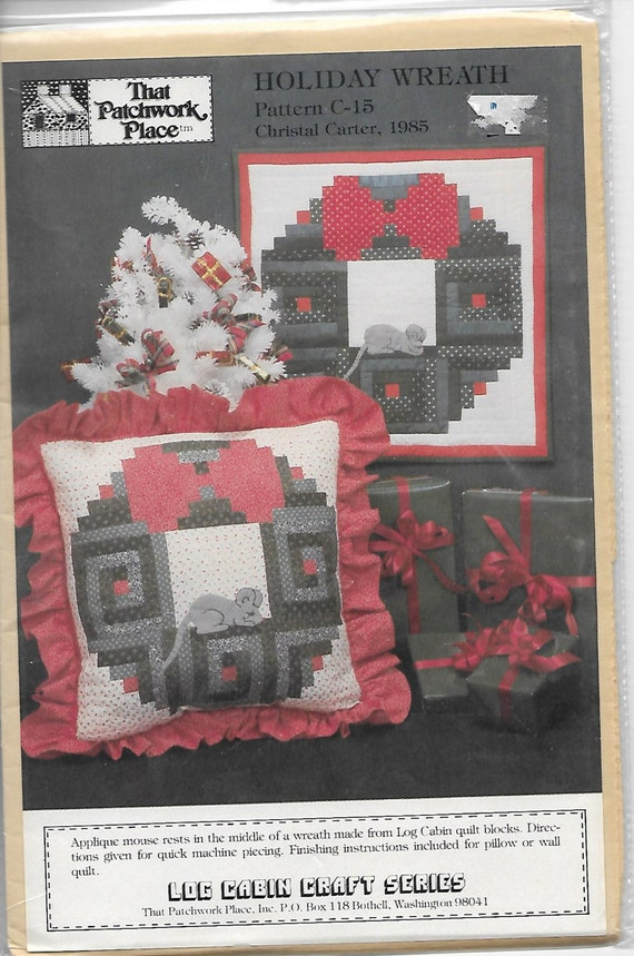 Quilting Pattern Christmas Decor Holiday Wreath Log Cabin Etsy