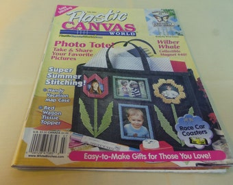 Plastic Canvas World magazine, July 2001, Photo Tote, Red Wagon Tissue Topper, Whale Magnet, Butterfly Wind Chime