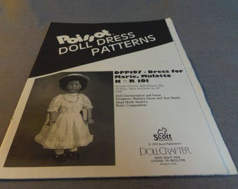"Doll Clothes, Doll Dress Pattern, Dress for Marie, 10"" Mulatto Doll, Poissot DPP 197, 1992"