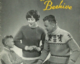 Vintage Knitting Patterns, Adults and Children, Beehive Designs in Double Knitting 1950s Patons and Baldwins