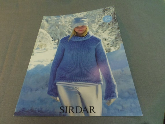 Womens Sweater Knitting Pattern Easy Knit Sirdar Cowl Neck Etsy