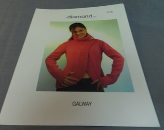 Knitting Pattern, Diamond Galway Chunky Sweater Woman's Adult Size S to XL 1176
