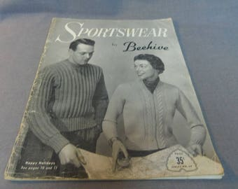 Knitting Patterns, Sportwear by Beehive Series No 69,  Patons Baldwins, circa 1950s Adult Sweaters, Vest. Jacket, Socks