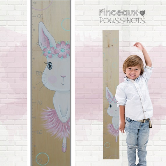 Toise murale pour enfants en forme de girafe en Bois Qualit/é suisse