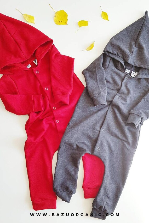 578001938 Red Baby Romper with Hood Red Toddler Romper Organic Red