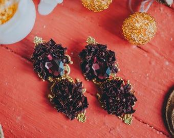 Earrings, flowers,  marsala, handmade flowers, earrings  marsala, earrings flowers