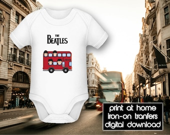 PRINTABLE - Letter size - The Beatles - London Bus - DIY T-Shirt Iron on transfer file – Jpg/Png 300dpi.
