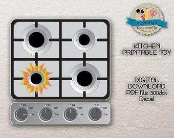 DIGITAL DOWNLOAD - Burners - Decal - Kitchen Printable toy - PDF