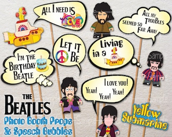 PRINTABLE The Beatles Yellow Submarine Photo Booth Props & Speech Bubbles Photo Props Retro party