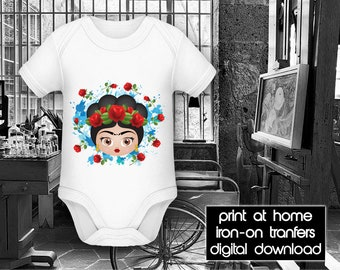 PRINTABLE - Letter size - Frida Kahlo - Red Roses - DIY - T-Shirt - Iron on transfer file – Jpg/Png 300dpi.