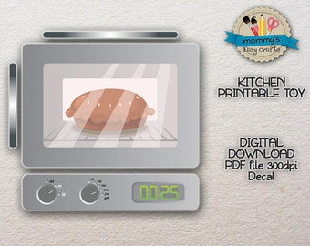DIGITAL DOWNLOAD - Oven - Decal - Kitchen printable toy - PDF