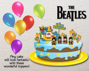 PRINTABLE The Beatles Yellow Submarine Cake Toppers Party Deco Digital download