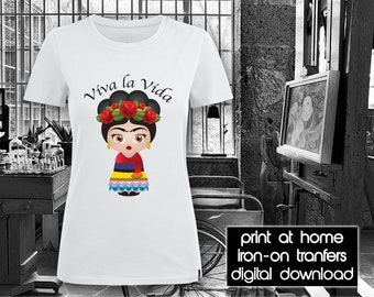 PRINTABLE - Letter size - Frida Kahlo - Viva la Vida 1 - DIY - T-Shirt - Iron on transfer file – Jpg/Png 300dpi.