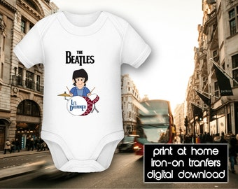 PRINTABLE - Letter size - The Beatles - Li'l Drummer - DIY T-Shirt Iron on transfer file – Jpg/Png 300dpi.