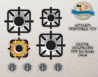 DIGITAL DOWNLOAD - Individual Burners - Decal - Kitchen Printable toy - PDF
