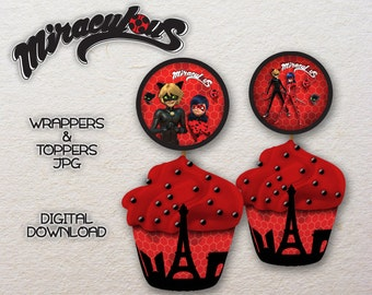 PRINTABLE Miraculous Ladybug Cat Noir Cupcake Toppers Wrapper Miraculous party Digital download