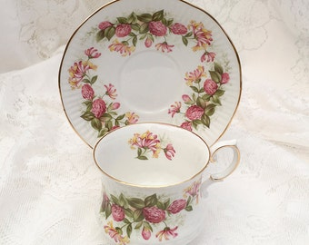 """QUEEN'S """"Wild Flowers - Pink Clover""""  Tea Cup & Saucer. Vintage Rosina, Made in England"""