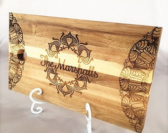 Personalized Engraved Cutting Board, Custom Etched Wedding Gift, Kitchen Home Decor, Unique Housewarming Gift, Gift for Her, Mom Grandma