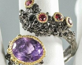 Noble designer ring US 8 - band ring 925 silver RG18 schw Opal -Citrine