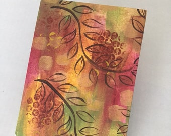 Hand Painted Canvas Covered Journal, Blank Book