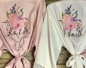 Personalization INCLUDED, Bridesmaid Gift, SilkBridesmaids Robes, Floral Bridesmaid Robe, Bridal Robe, Bridesmaid Proposal, Bride Robe
