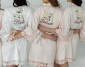 Set of 7 Customized Robes, Bridesmaid Gift, Satin Bridesmaids Robes, Floral Bridesmaid Robe, Bridal Robe, Bridesmaid Proposal, Bride Robe
