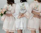 Luxurious Custom Robes, Bridesmaid Gift, Satin Bridesmaids Robes, Floral Bridesmaid Robe, Bridal Robe, Bridesmaid Proposal, Bride Robe