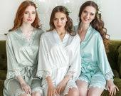 Silk Bridesmaid Robes, Gift for Bridesmaid, Satin Lace Robes, Bridesmaid Gifts, Bridal Robes, Bridal Party Robes, Navy Wedding