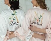 Customization Included-Bridesmaid Robes-Bridesmaid Gift-Custom Wedding Robe-Gift for Bride-Lace Robe-Bridal Robe - Personalized Robe