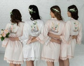 Luxurious Custom Robes, Bridesmaid Gift, Satin Bridesmaids Robes, Floral Bridesmaid Robe, Silk Bridesmaids Robes, Bridesmaid Proposal
