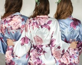 Slate Blue Bridesmaid Robes -Floral Silk Robes -Getting Ready Robes -Bridal Party -Kimono Robes- Bridesmaid Gift- Gift for Bridesmaid