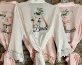 Bridesmaid Robes-Bridesmaid Robes Set of 1,2,3,4,5,6,7,8,9,10-Bridesmaid Gift-Custom Wedding Robe-Gift for Bride-Satin Lace Robe-Bridal Robe
