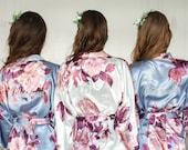 Set of 6 Bridesmaid Robes, Floral Robe, Wedding Gifts, Set of Satin Robes with Floral, Bridal Party Robes, Wedding Robes, Bridesmaid Gift