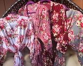 Set of 4 Bridesmaid Robes, Bridesmaid Gift, Cotton Bridesmaids Robes, Kimono Robes, Bridal Party Robes, Wedding Robe, Floral Bridesmaid Robe
