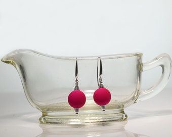 Pink Earrings -Pink Glass Bead -Silver Earrings -Beaded Earrings -Handmade Jewellery -Pink Jewellery -Gift for Her -Glass Earrings -UK Shop