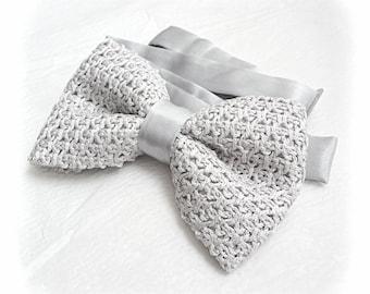 Crochet Silver Grey Bow Tie for Men, Men's Bowtie, Knitted Bow Tie, Tunisian Crochet Gray Bow Tie, Silver Wedding Gift