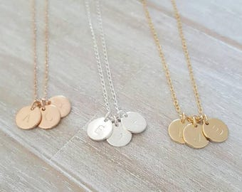 Triple initial charm necklace   customised family necklace   personalised jewellery   charms twins triplets   custom engraved jewellery
