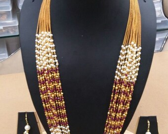 Multi strand necklace and earring set