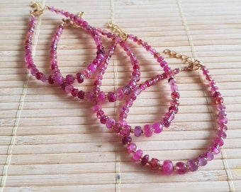 Handmade and beautifully finished pink tourmaline bracelets with gold plated beads and gold plated lobster clasps
